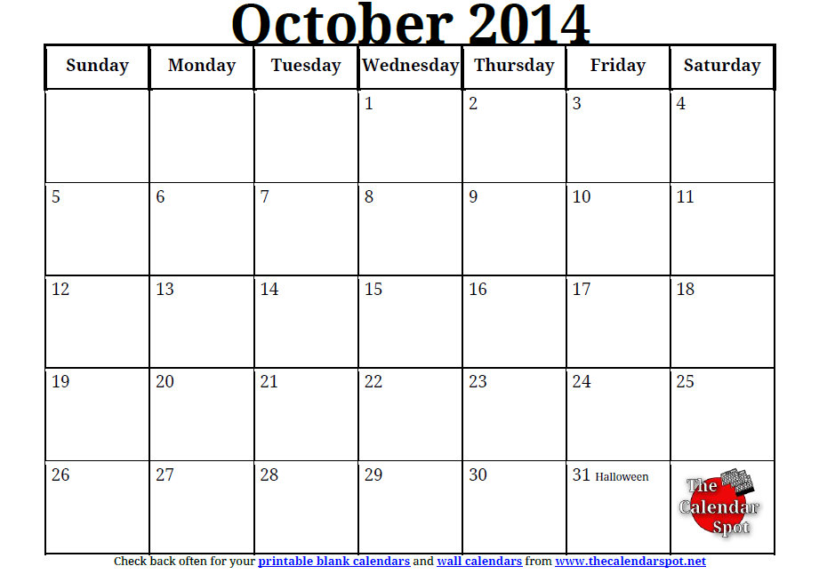 6 Images of October 2014 Calendar Printable PDF