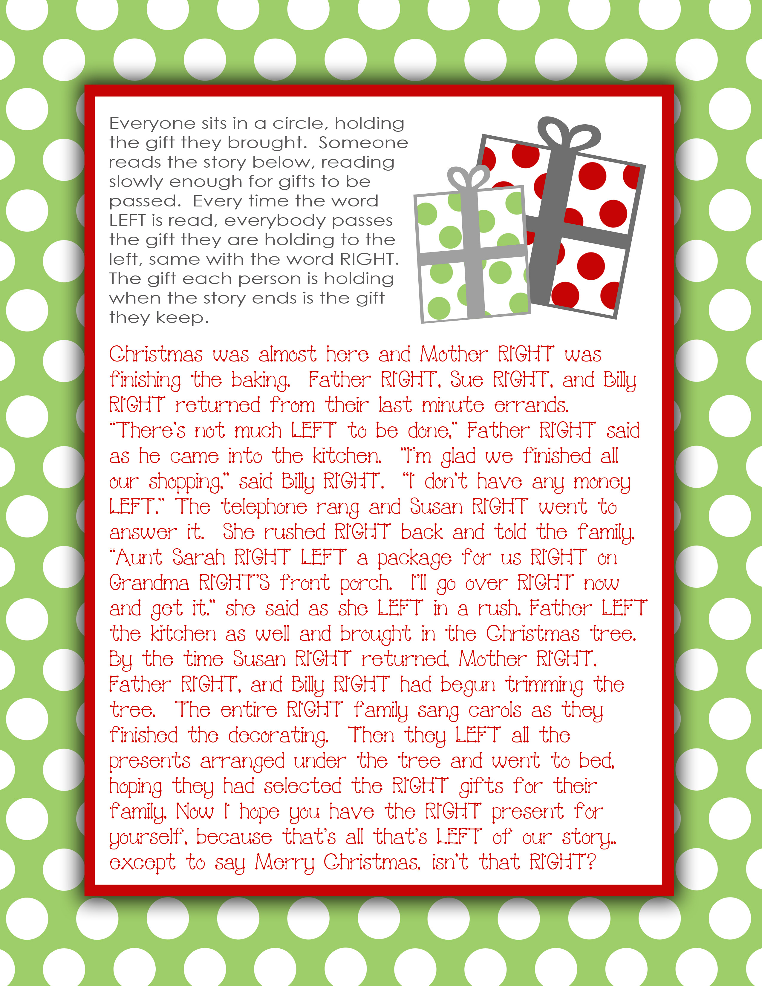 Right Left Christmas Game Printable - Right Left Christmas Game ...