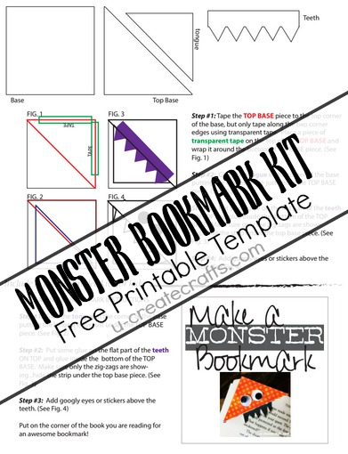 6 best images of free printable monster bookmarks free for Create your own bookmark template
