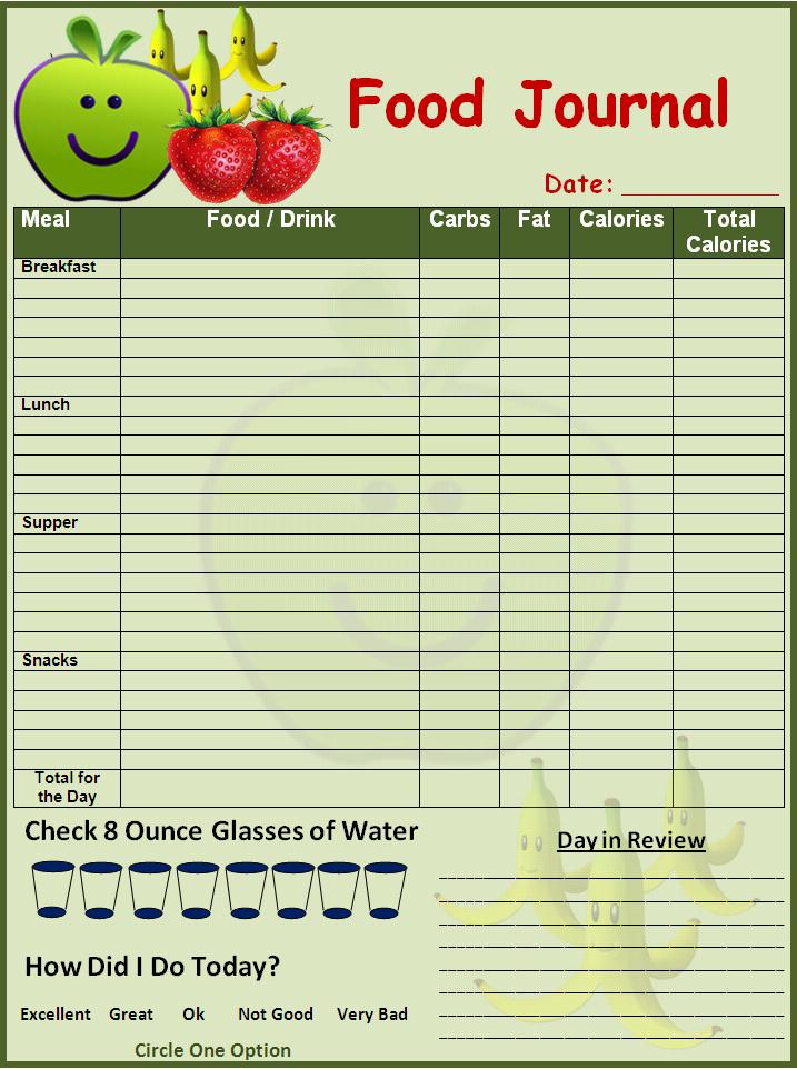 keeping a food diary template - 7 best images of easy food diary printable free