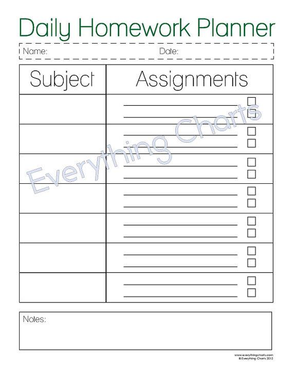5 Images of Student Weekly Homework Planner Printable