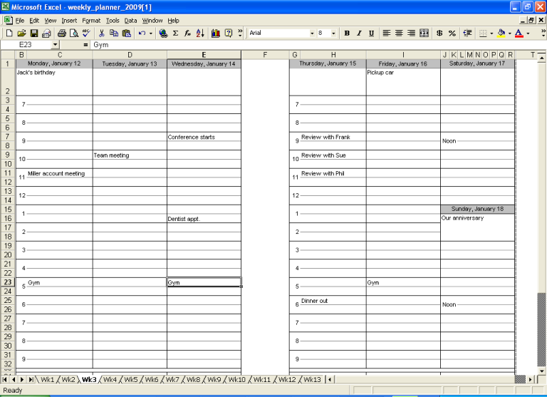 Two Week Calendar Template Excel