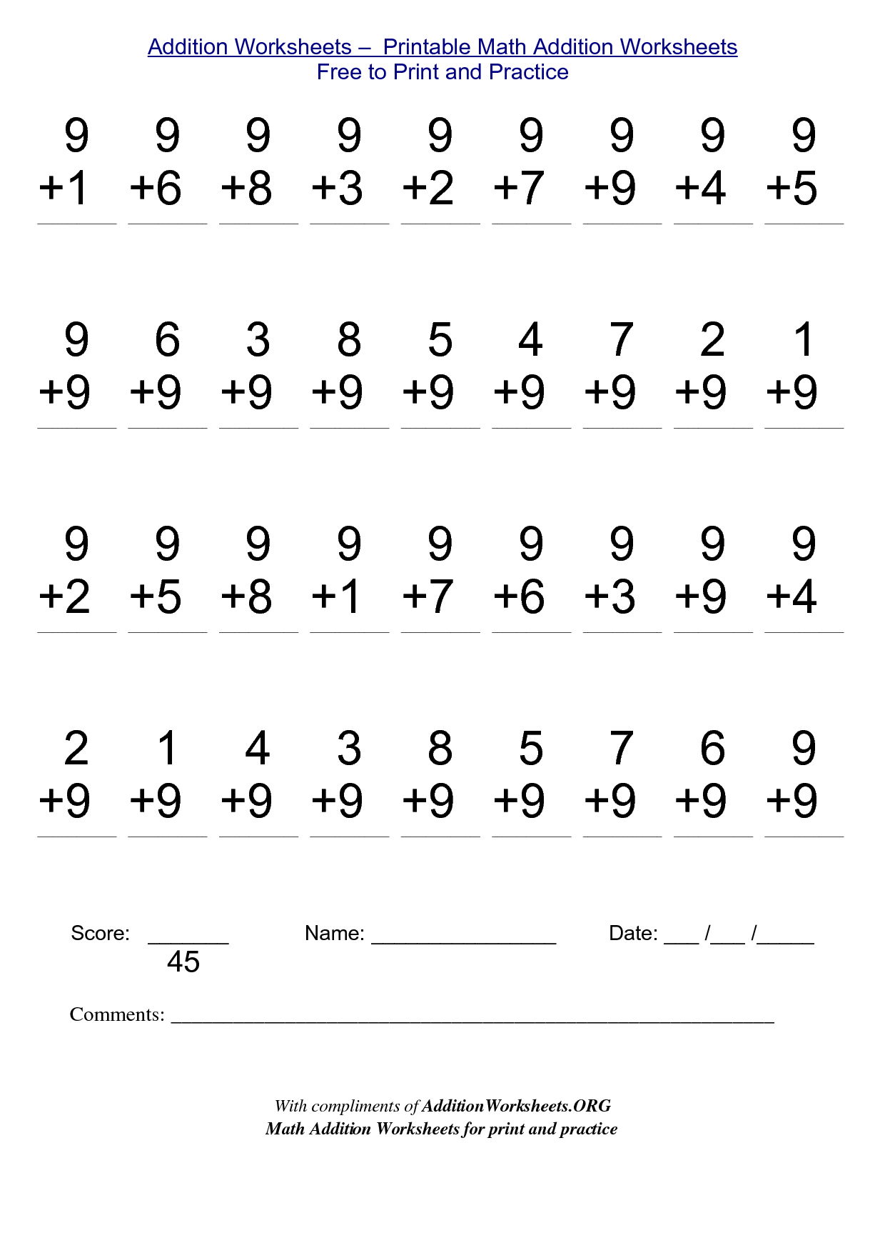 Printable Math Worksheets Addition - Reocurent