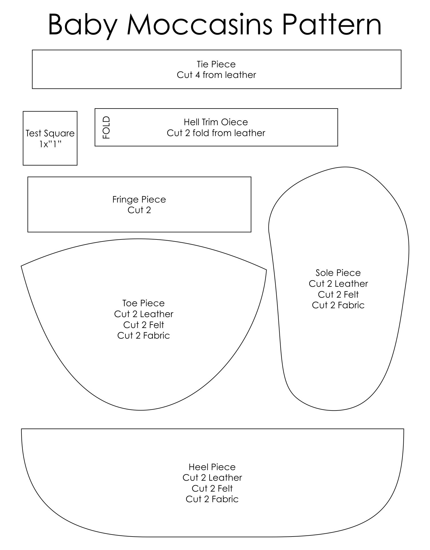 Baby Moccasin Printable Patterns
