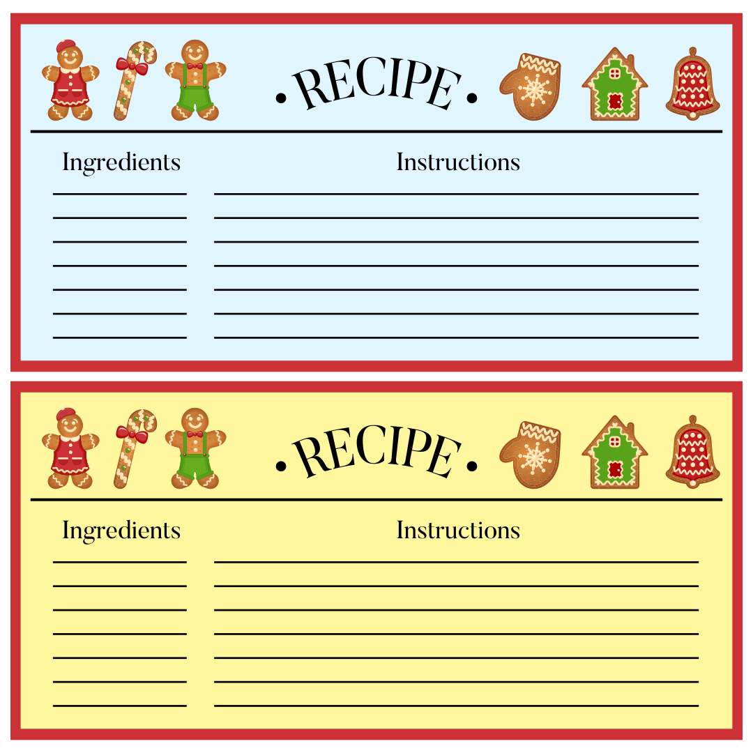 Holiday Recipe Card 10 best images of editable printable recipe card ...