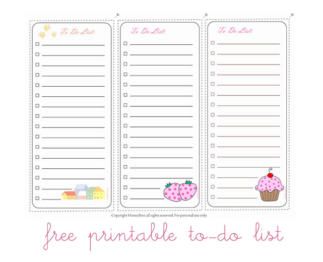 Free Cute Printable to Do List