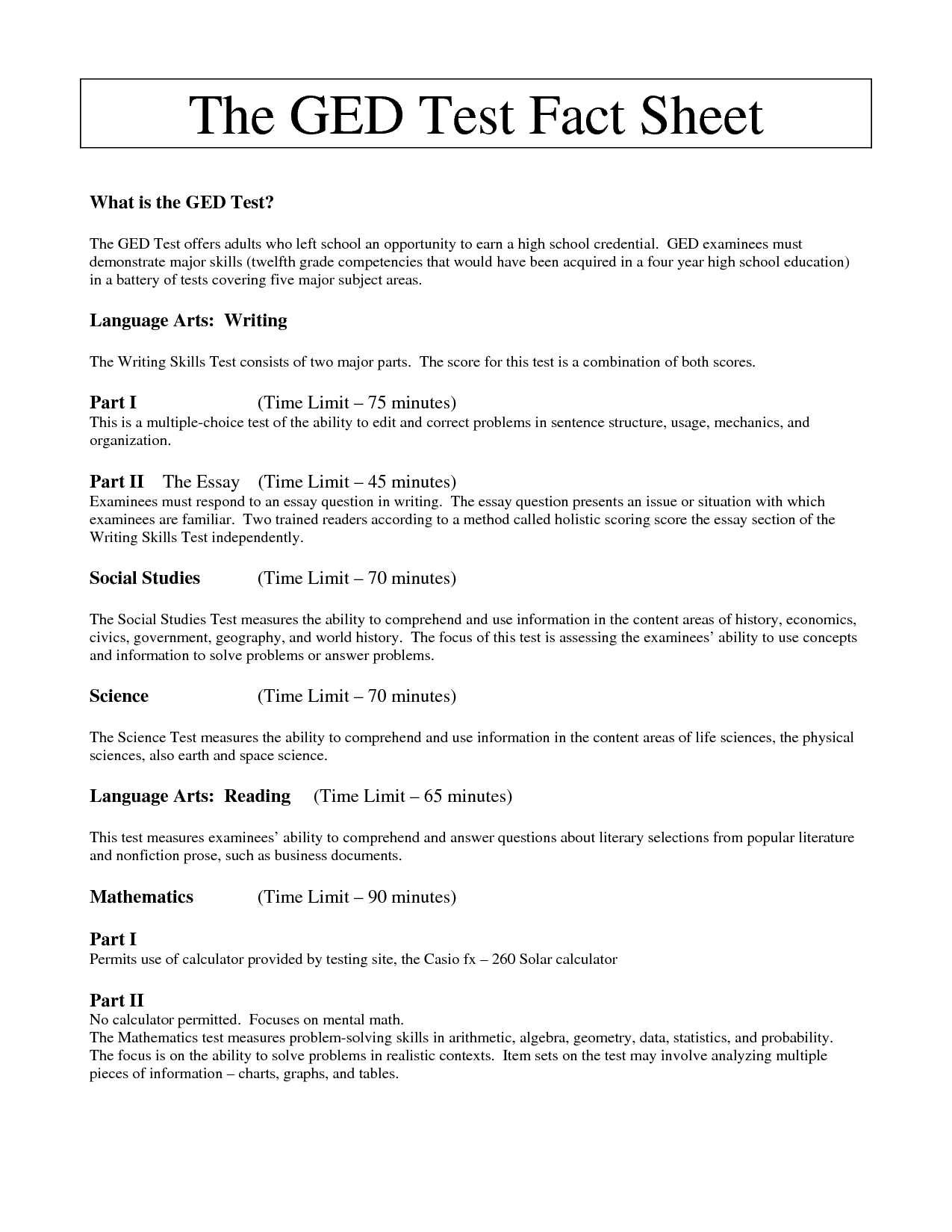 GED Social Studies Worksheets, Free Printable GED Practice Worksheets ...