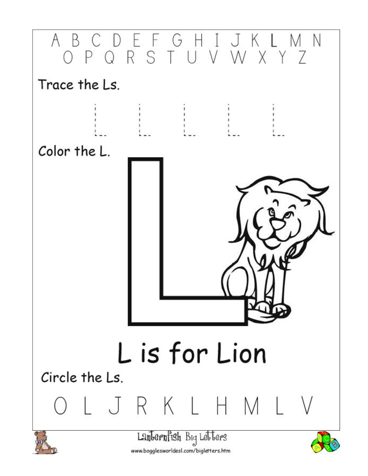 Printables Letter L Worksheets 5 best images of printable preschool worksheets letter l free worksheets