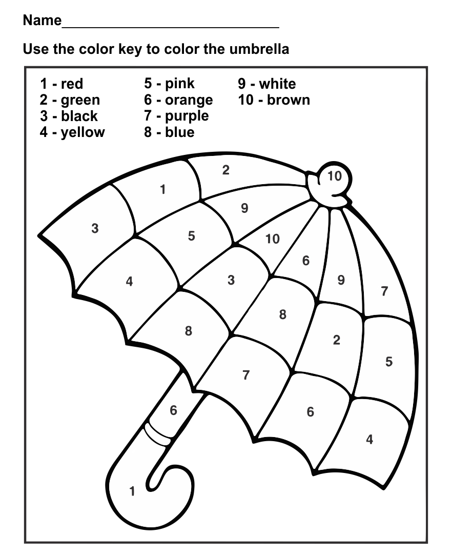 Free Preschool Color by Number Worksheets