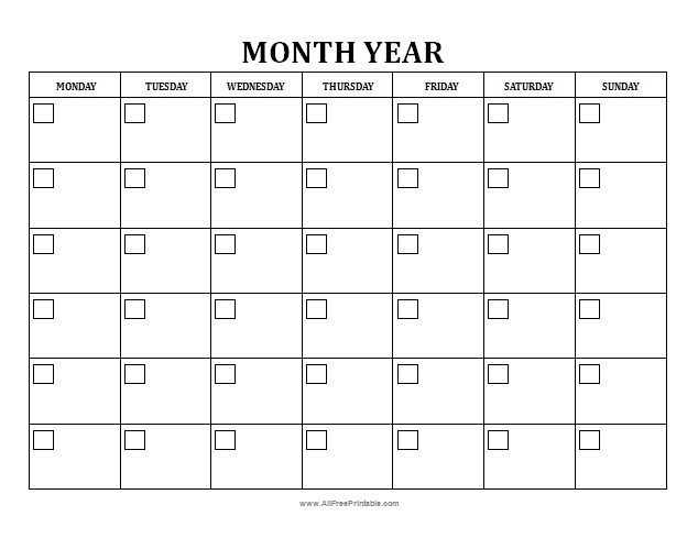 9 best images of free blank monthly calendar printable