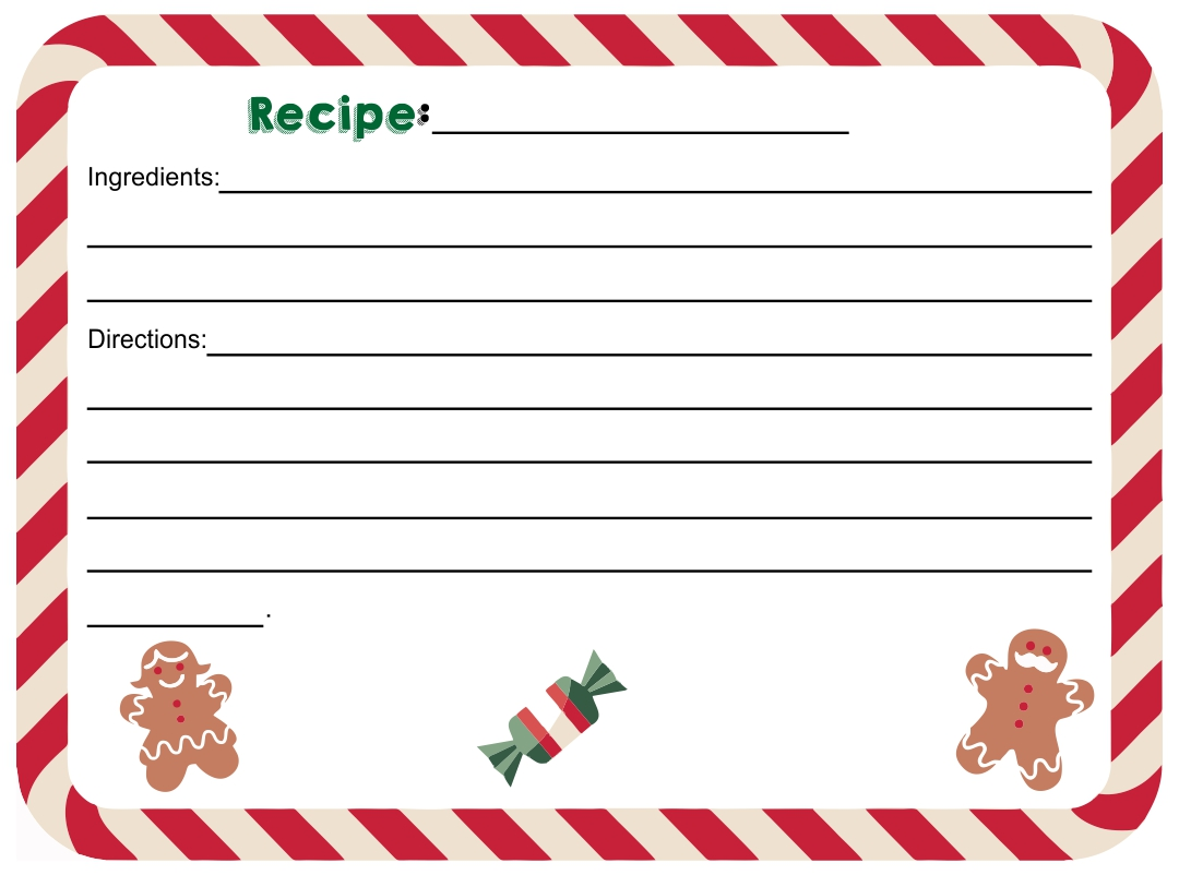 10 Best Editable Printable Recipe Card Template Christmas ...