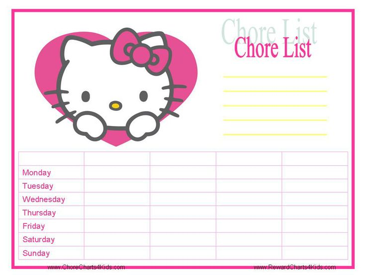 8 Images of Hello Kitty Chore Chart Printable