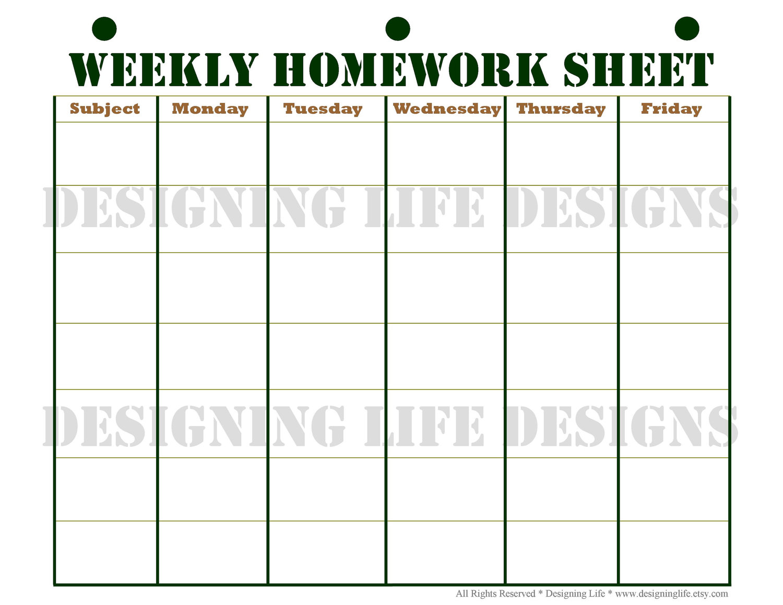Free blank homework assignment sheets