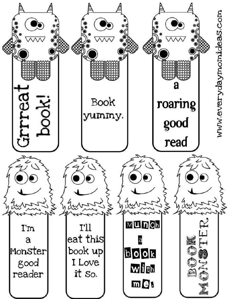 6 Images of Free Printable Monster Bookmarks
