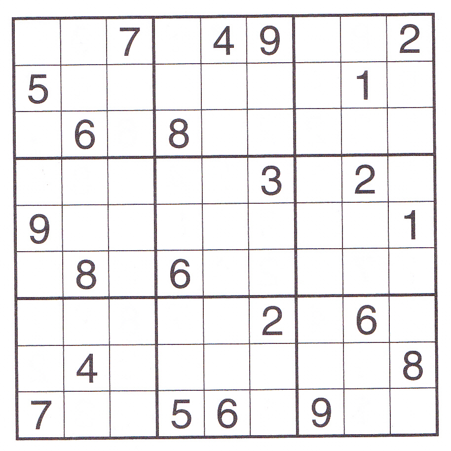 Printable Large Print Sudoku Puzzle