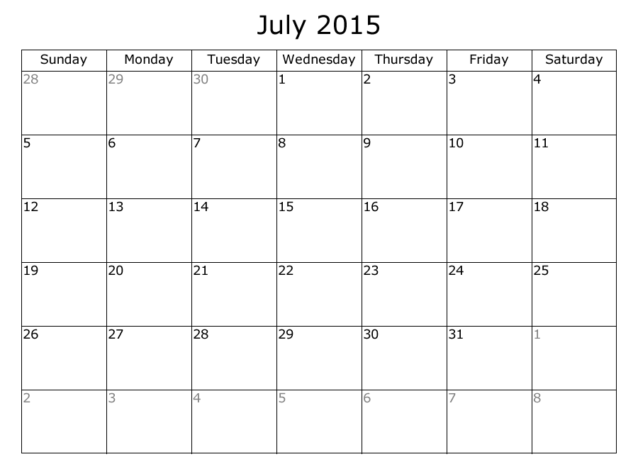 9 Best Images of Free Printable July 2015 - Free Large