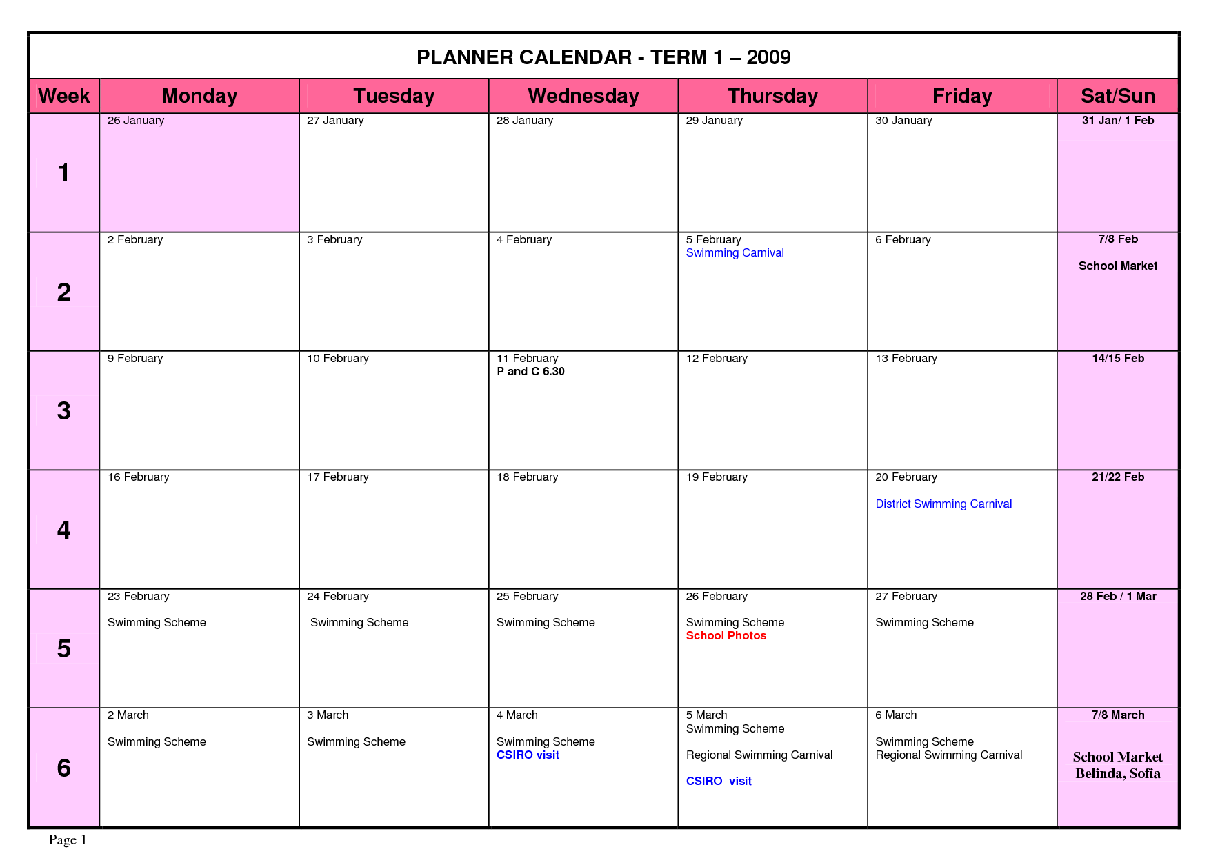 Organization Calendar Free : Best images of printable weekly school planner calendar