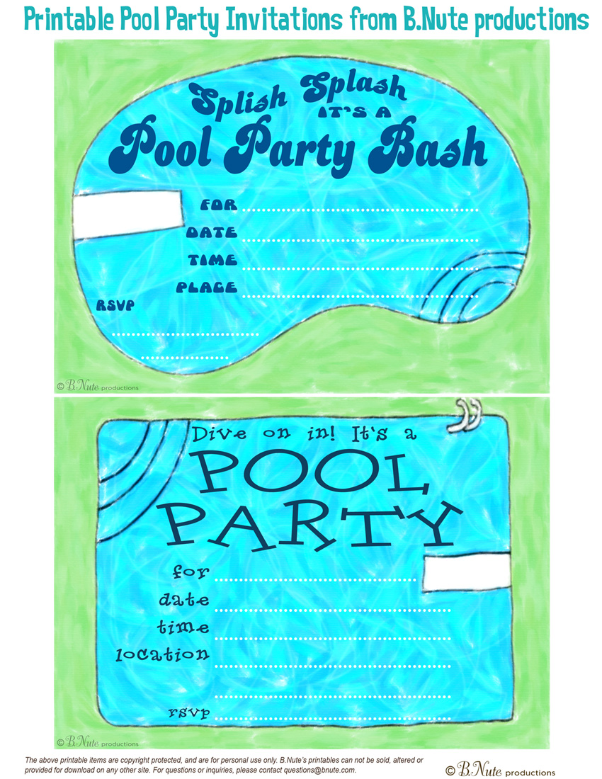 4 Images of Free Printable Pool Party Invitations