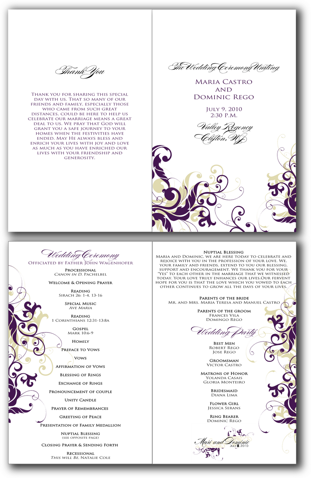 8 best images of free printable church program design for Free wedding program templates