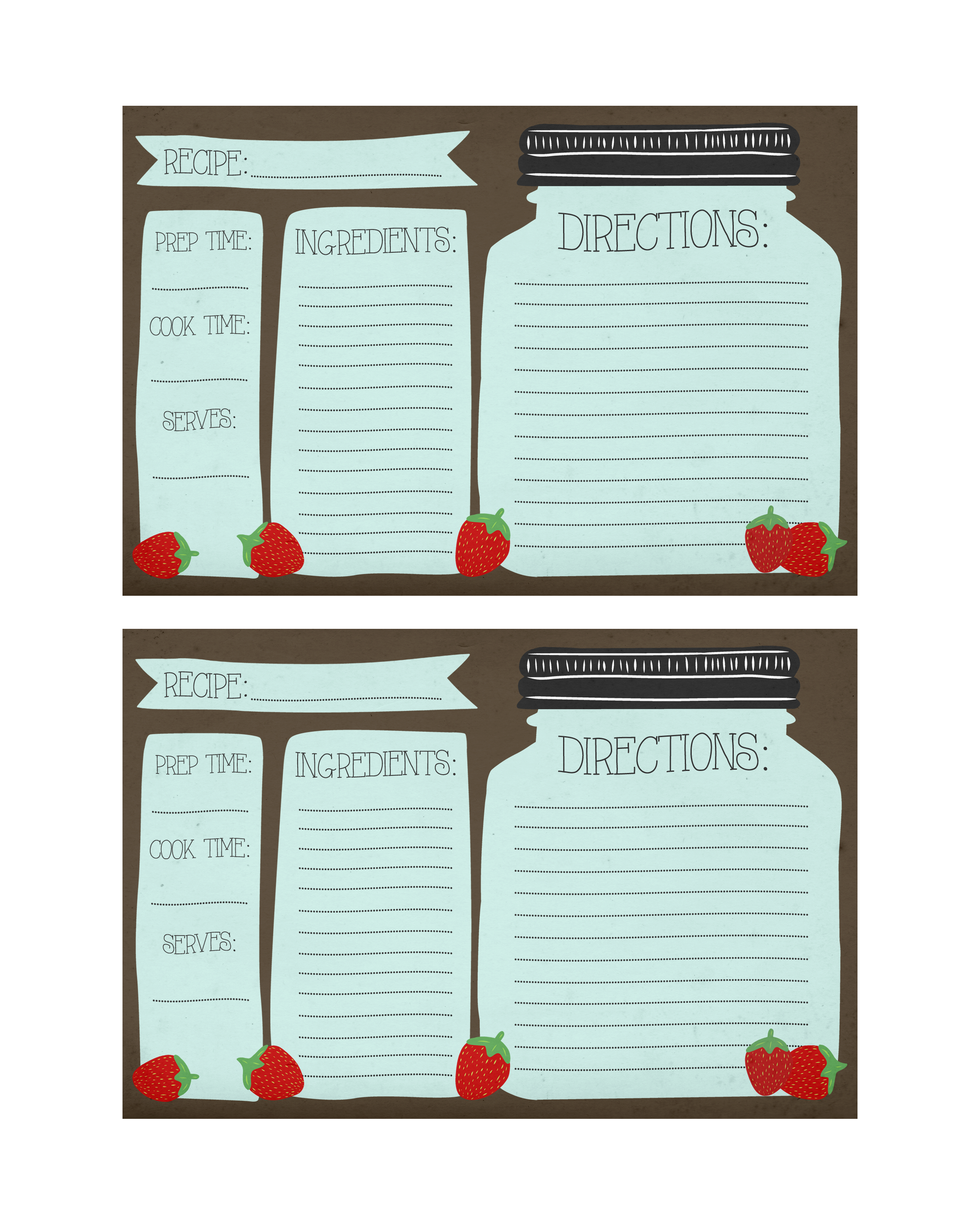 6 Best Images of Cute Printable Recipe Cards Strawberry ...