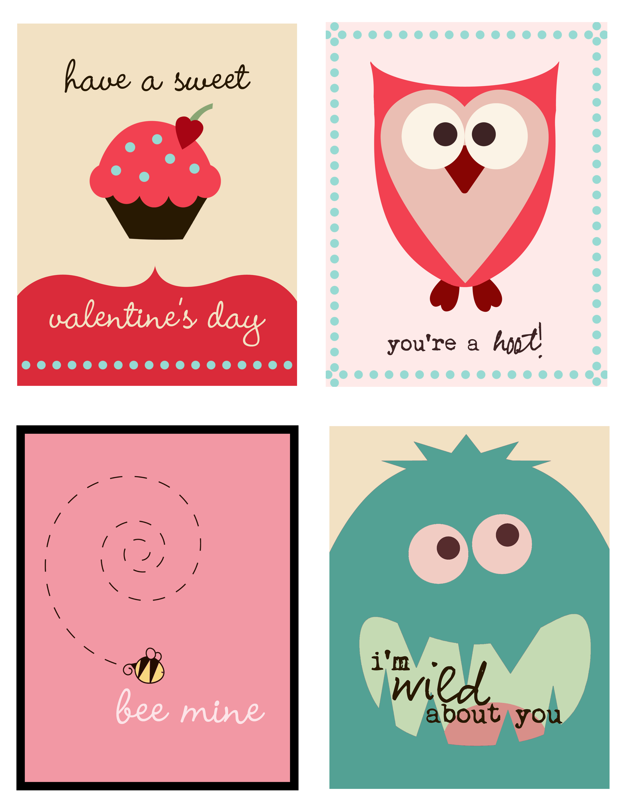 6 Images of Cute Printable Valentine Cards