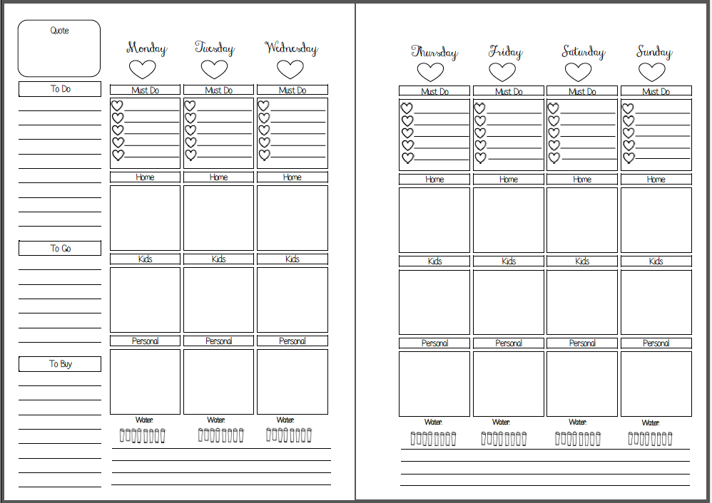 Planner Calendar Inserts : Best images of free printable planner pages week on two