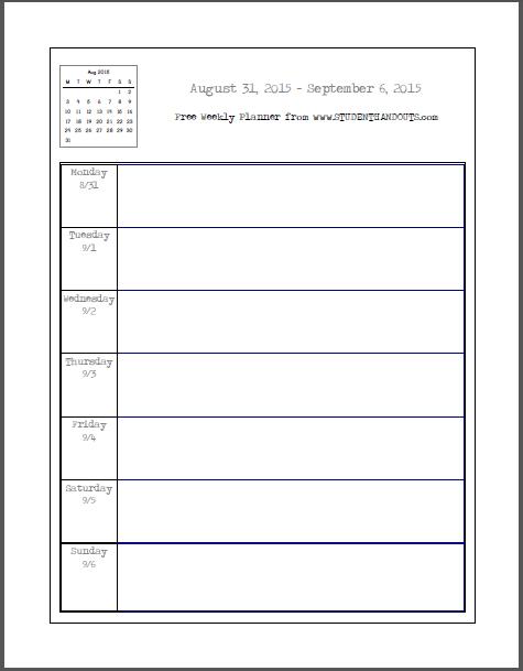 6 Images of Printable Weekly School Planner Calendar Organizer