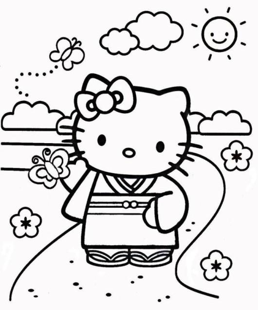 Beautiful Geisha Wearing Kimono Coloring Page - NetArt | 637x530