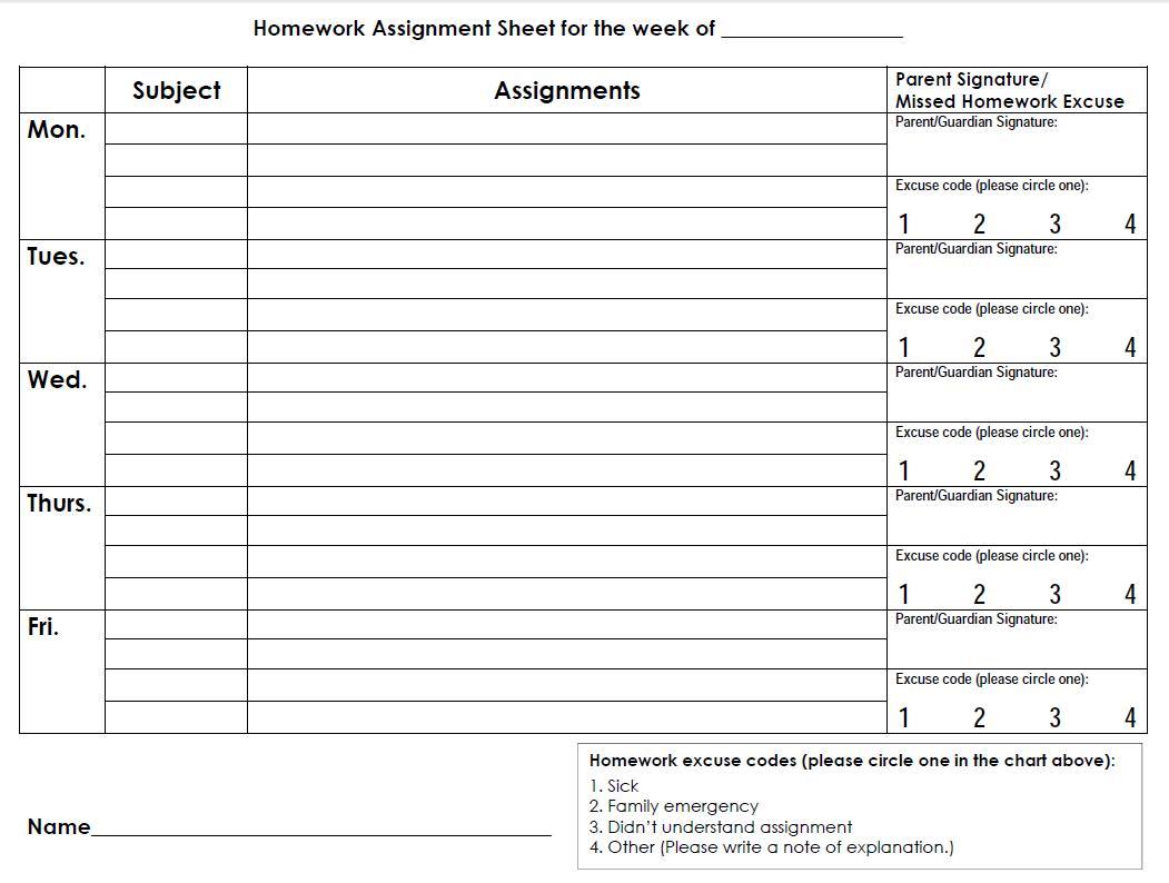 student assignment sheet