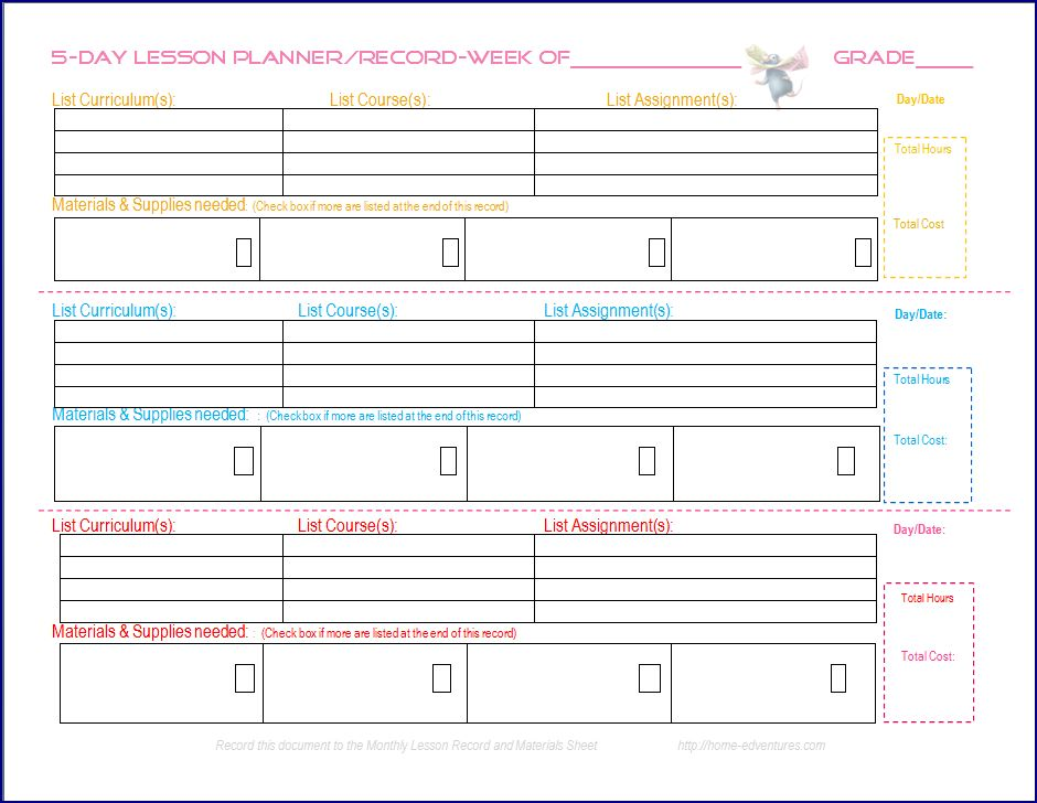 6 best images of printable homeschool lesson plan template for Home plan weekly