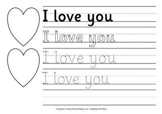 I Love You Valentine's Worksheet