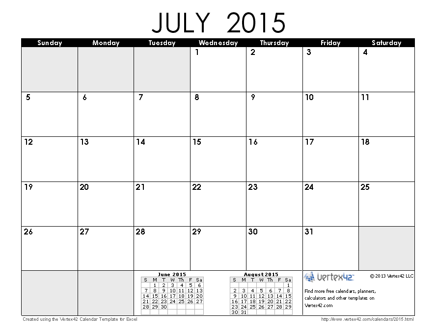 4 Images of 8 X 11 Printable Calendar July 2015
