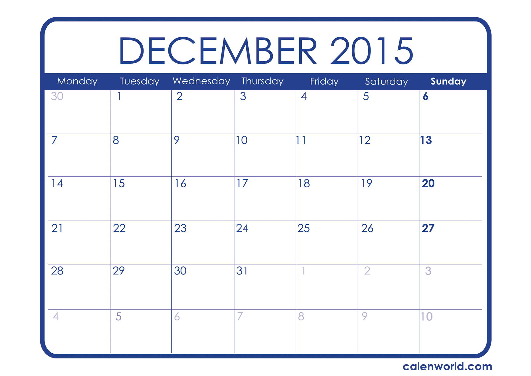 8 Images of December Calendar 2015 Printable