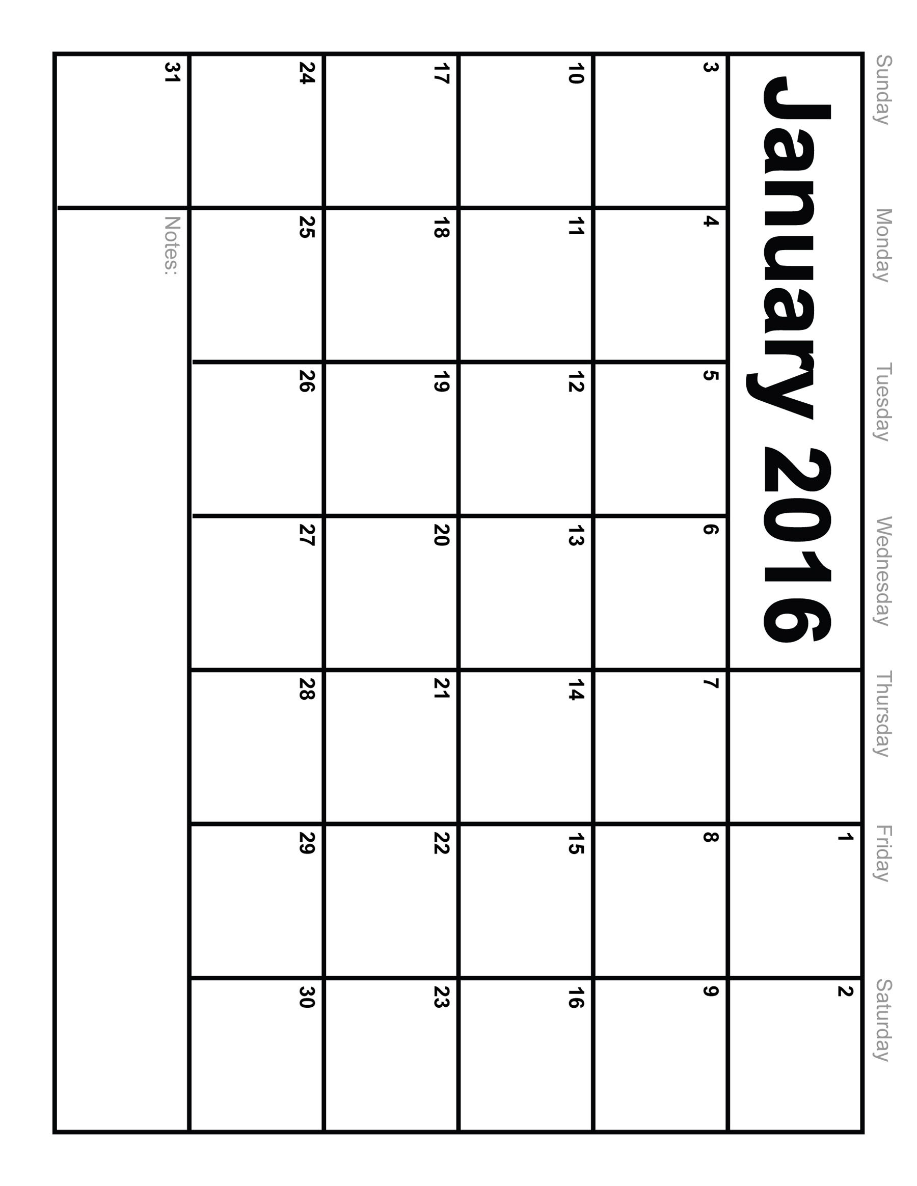 5 Images of January 2016 Printable Calendar Template