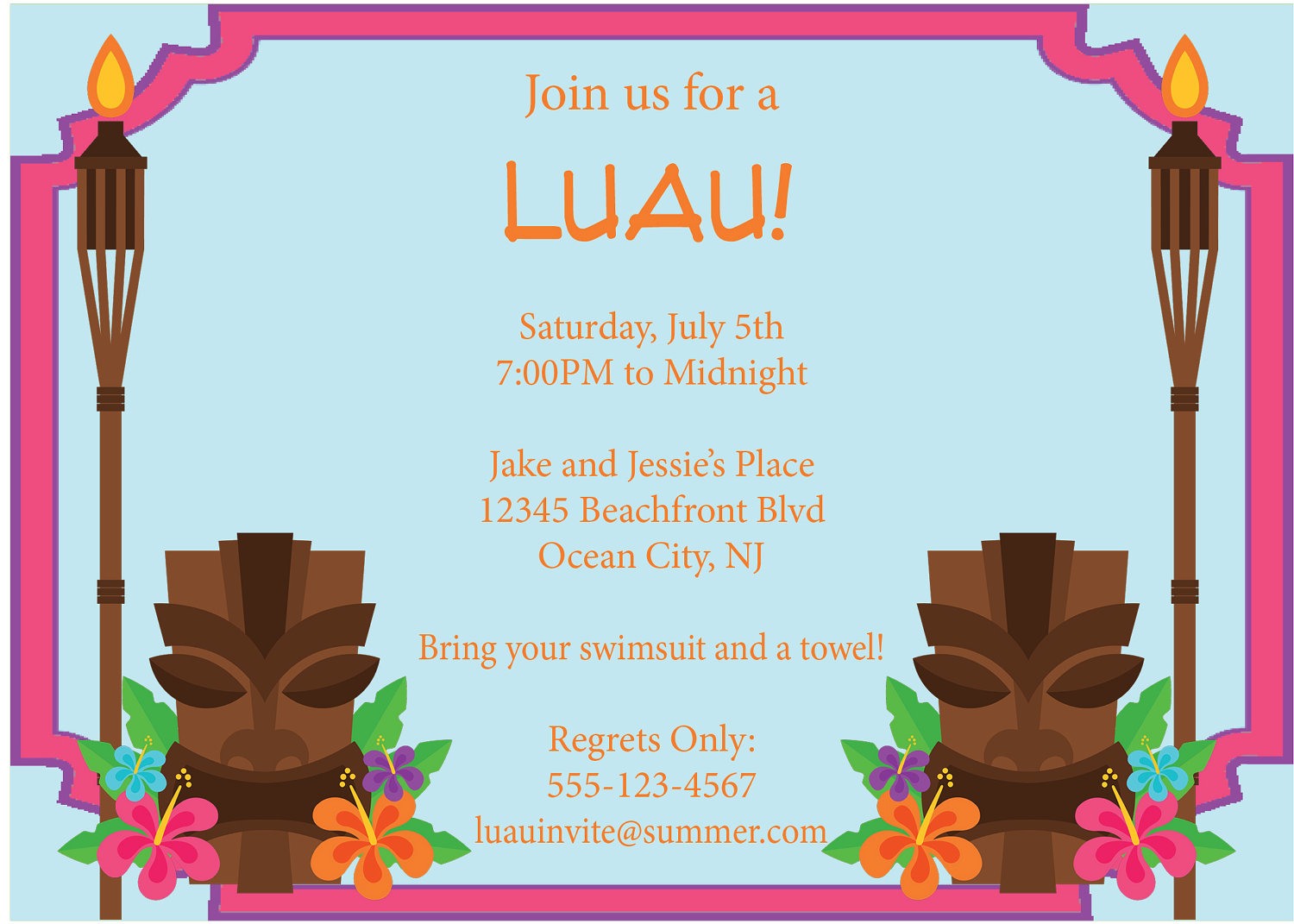 9 best images of free printable luau flyers free for Luau invitations templates free