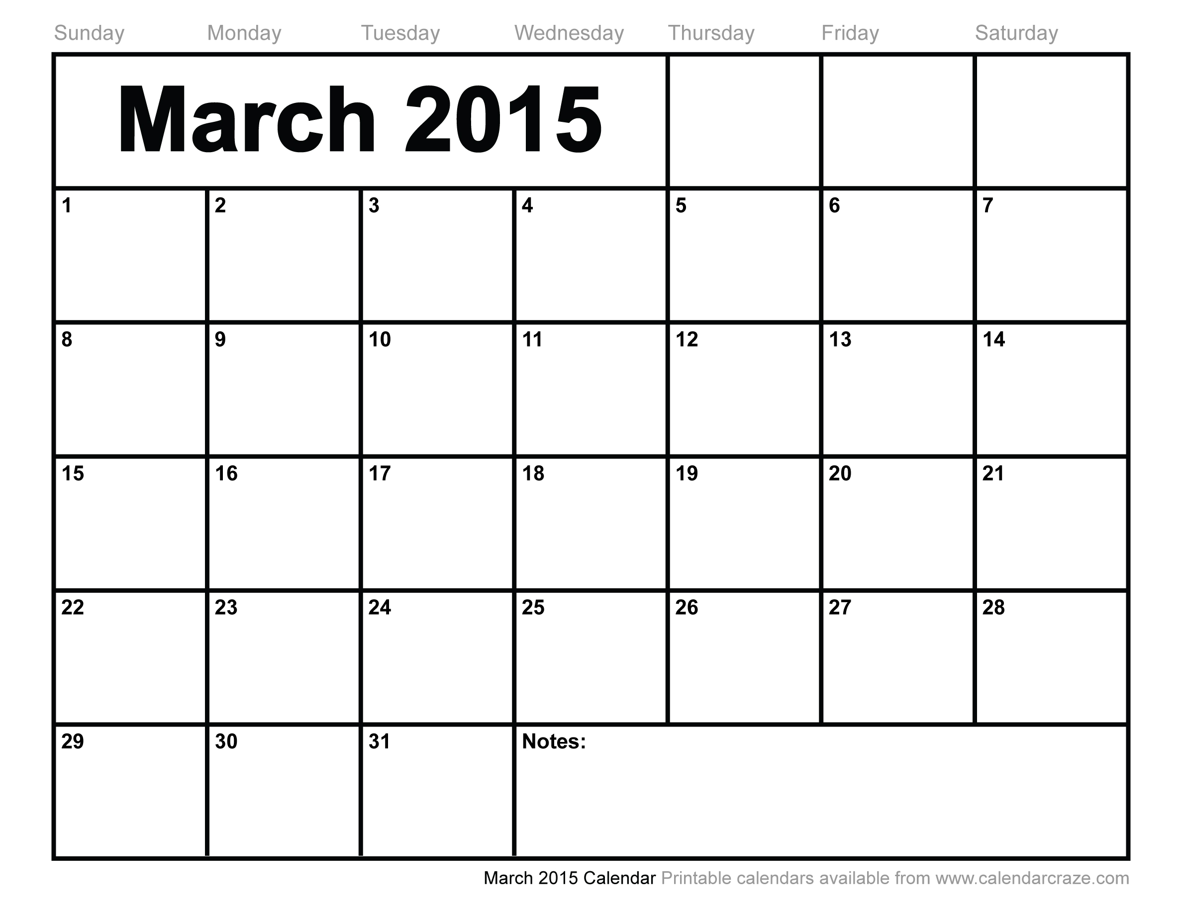 7 Images of March 2015 Calendar Printable Free
