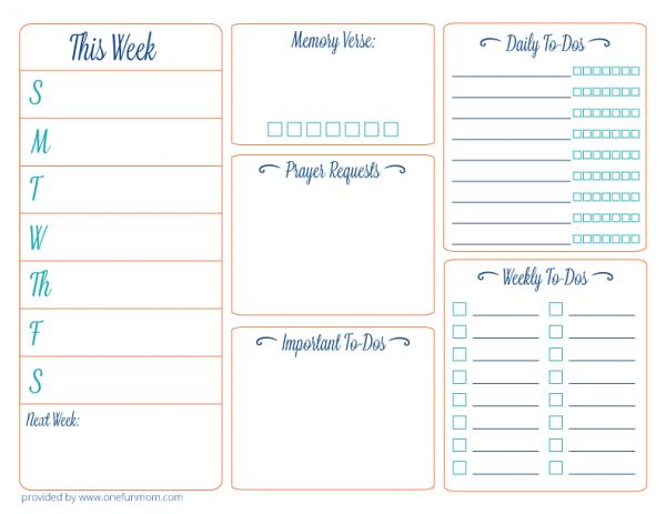 6 Images of Fun Weekly Planner Printable
