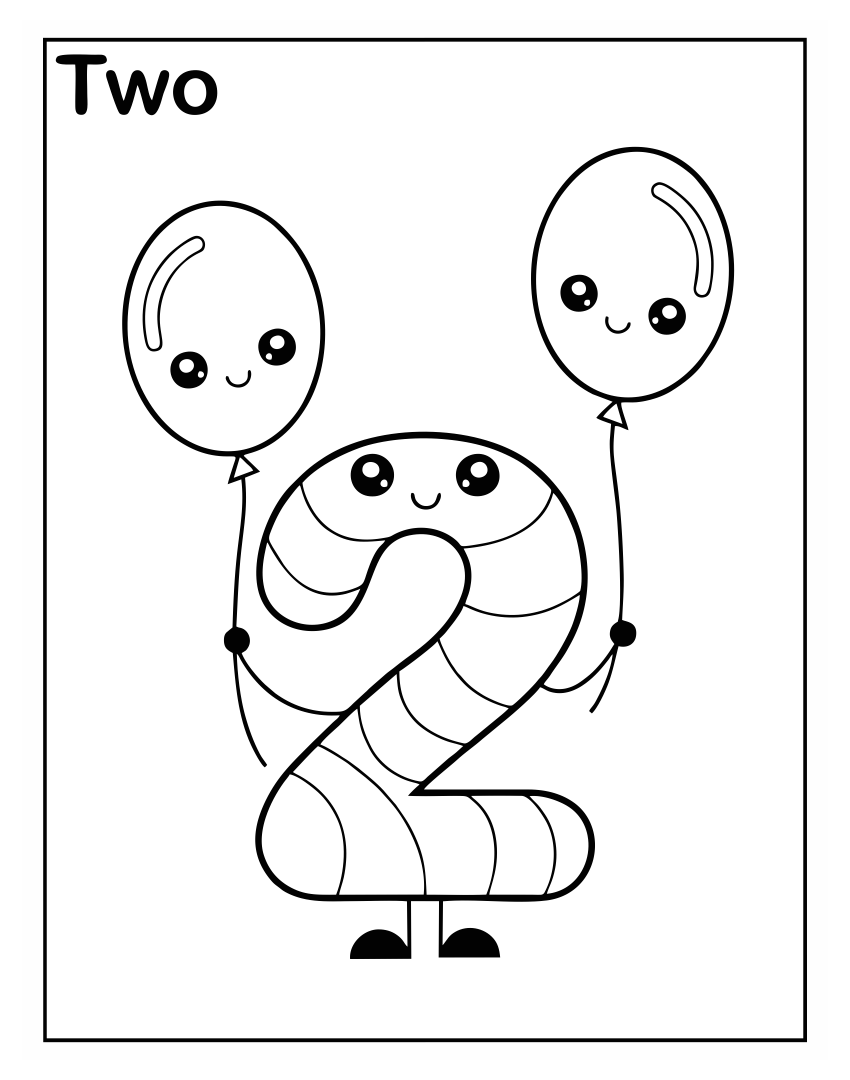 Number 2 Preschool Coloring Worksheets