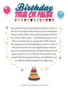 Printable 50th Birthday Party Games