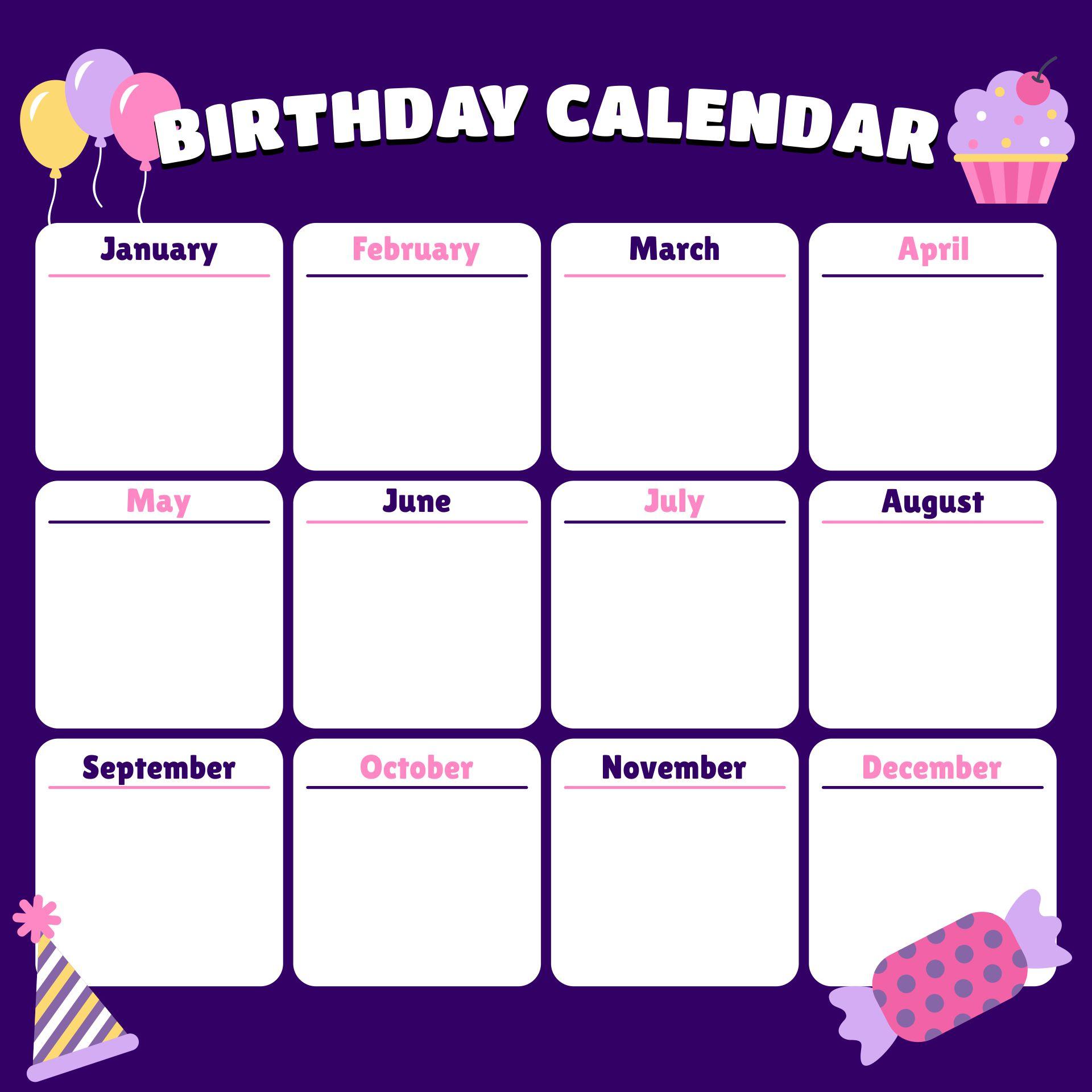 8 best office birthday list printable