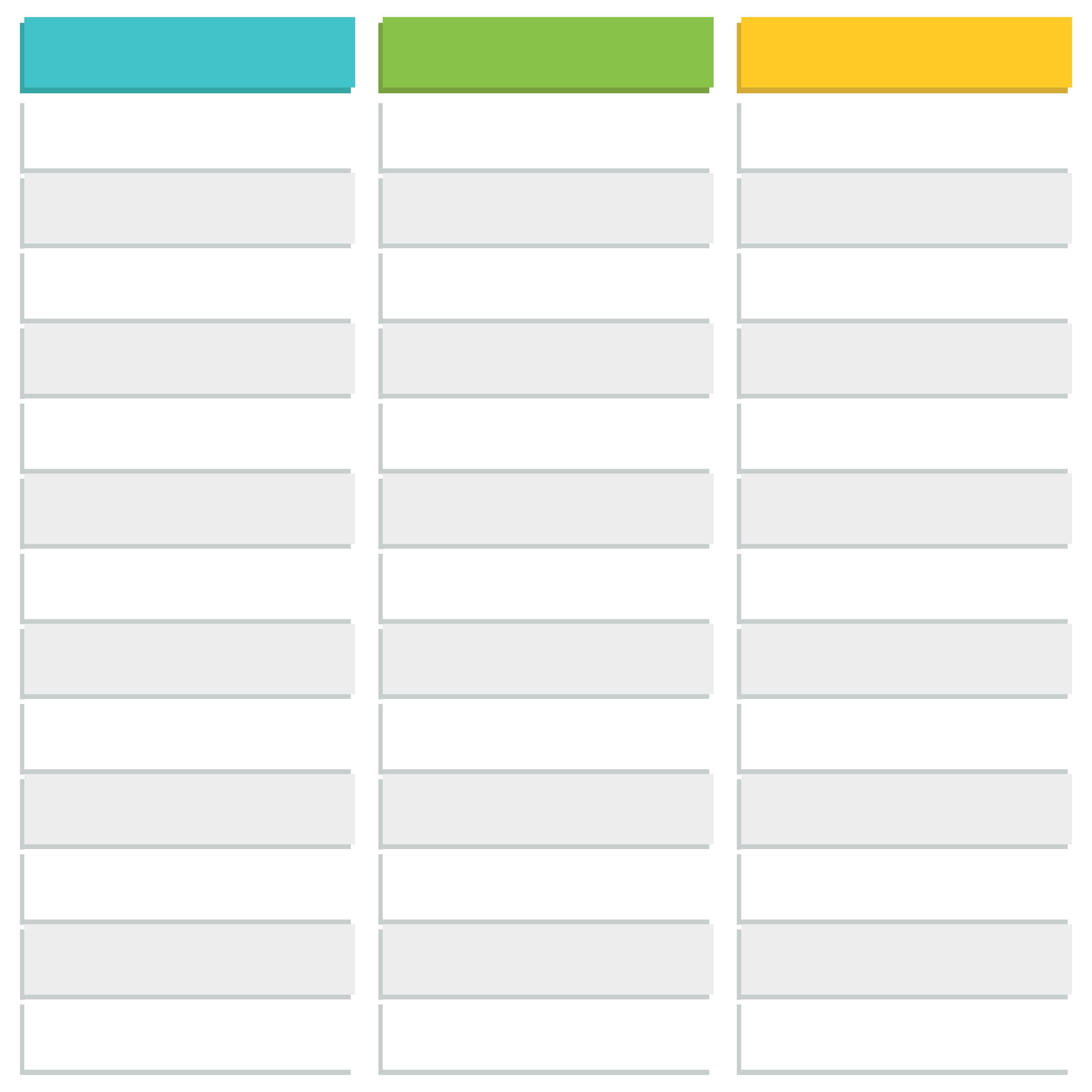 Printable Blank 3 Column Chart