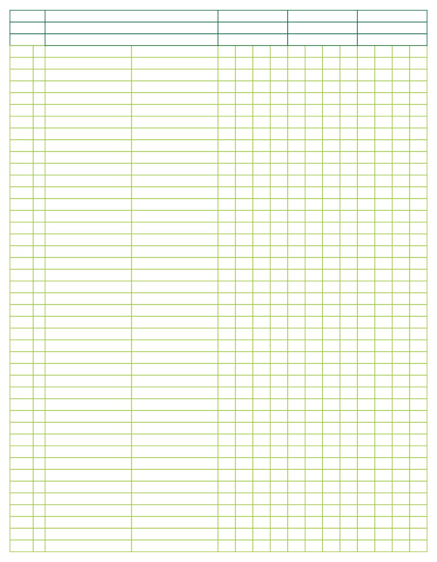 Printable Blank 3 Column Ledger Sheet