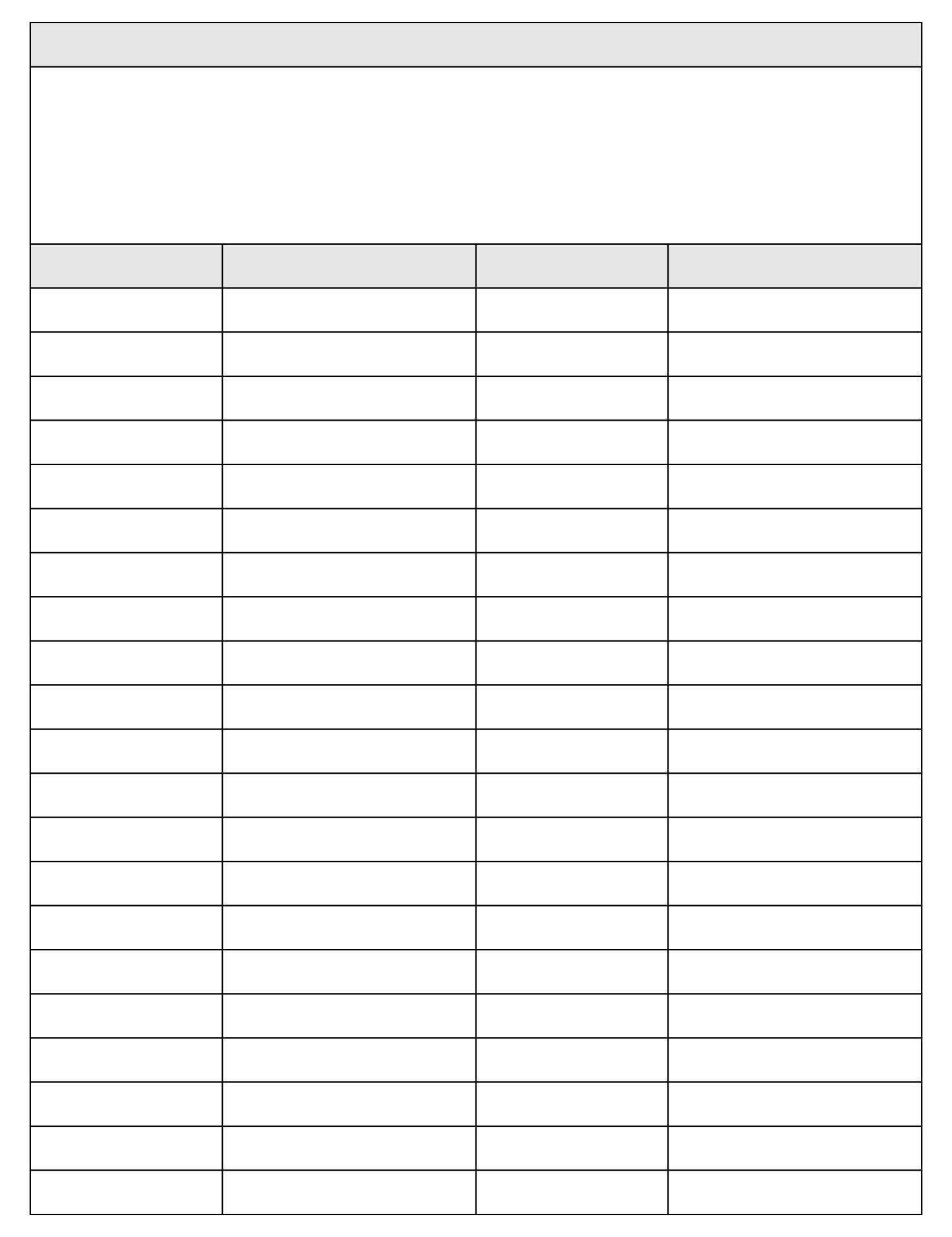 Printable Blank 4 Column Chart Templates