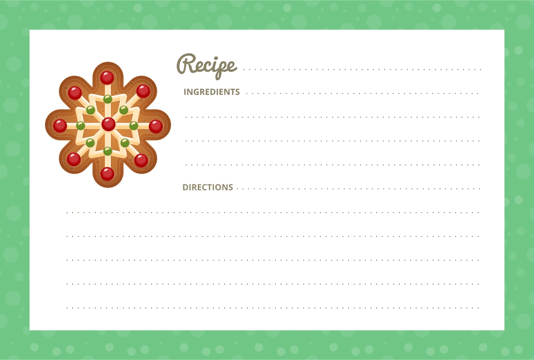 Printable Editable Christmas Recipe Card Template