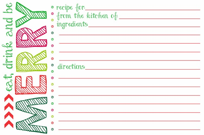 Printable Holiday Recipe Card Template