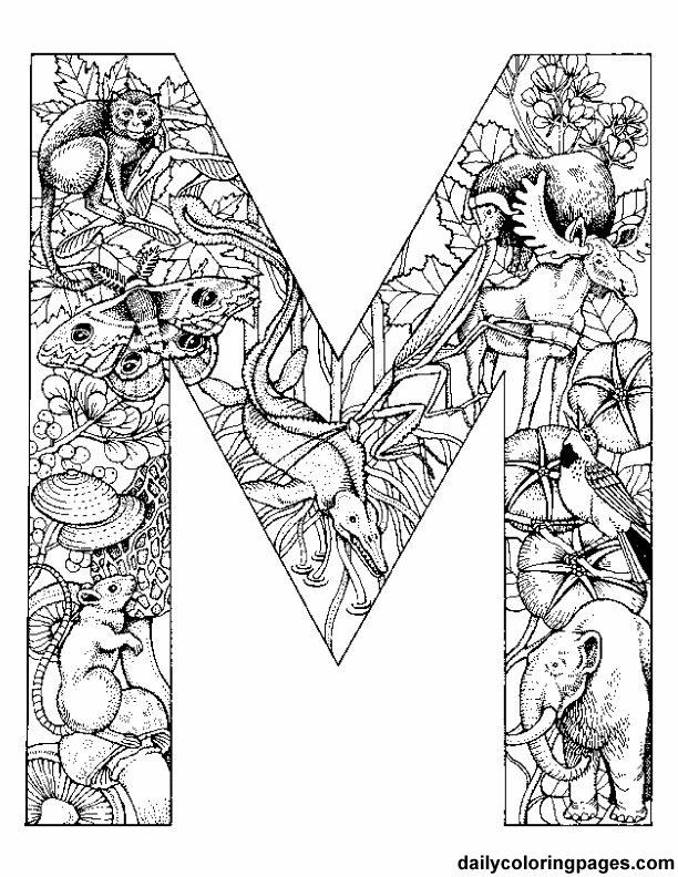 printable letter m coloring page - Challenging Animal Coloring Pages