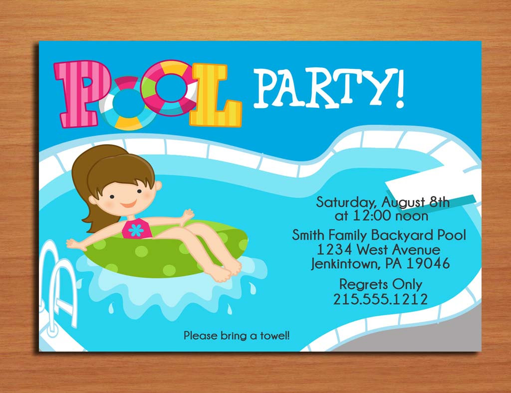 5 Images of Free Printable Pool Birthday Party Invitation Templates