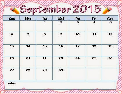 7 Images of Editable September Monthly Calendar 2015 Printable