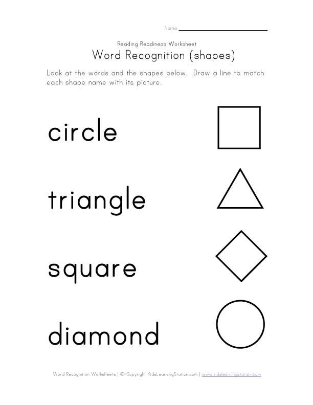 Shape Recognition Worksheets Kindergarten