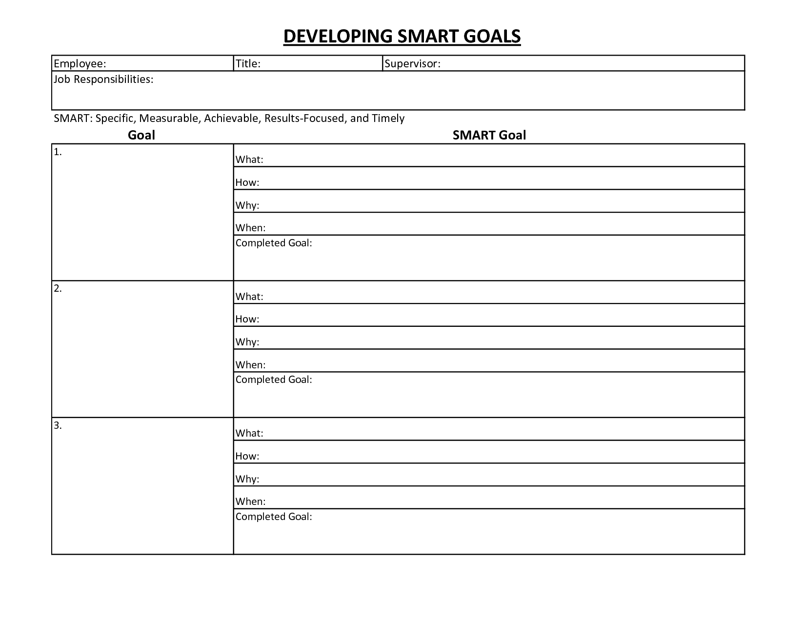 Goals And Objectives Template Excel